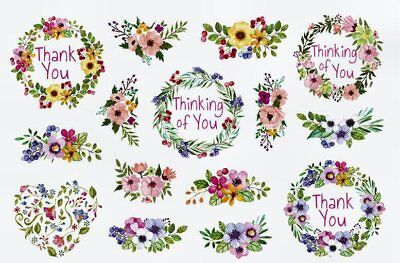 (SWEET FLORAL SAYINGS STICKERS USA MADE #29 Thinking of You  Thank You FAST SHIP!)