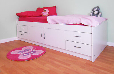 *NEW* UK MADE CHILDRENS SINGLE WHITE CABIN BED (R236W)