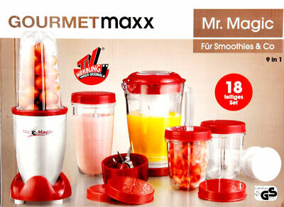 18tlg Mr Magic Standmixer Smoothie Zerkleiner Mixer Küchenmaschine GOURMETmaxx *