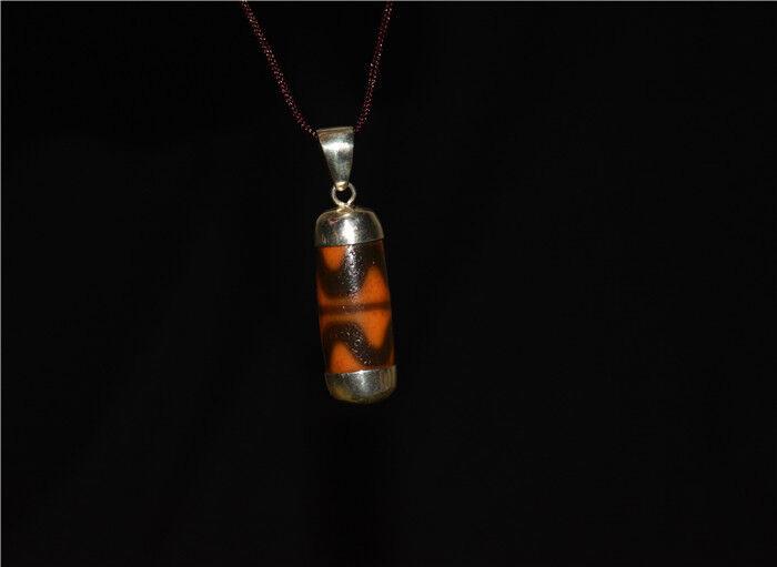 old tibetan water wave dzi bead ancient zig zag necklace double genuine amulet