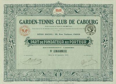 Garden Tennis Club 1919 De Cabourg Max Bertrand Paris Gründer Titres Anciens