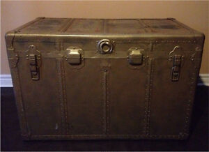 OVERSIZED antique steamer trunk