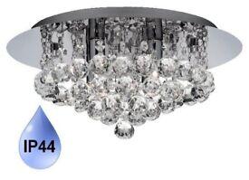 Chandelier Ceiling Light Crystal Droplets 4 Bulbs Crystal Chandelier