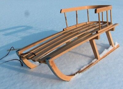 Holzschlitten  NEU  Schlitten Lehne Schieber Kinder