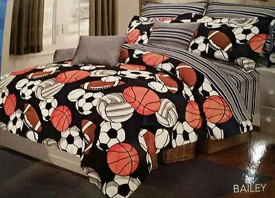 SPORTS COMFORTER SET 9PC Boys Bedding SHEETS Football Basketball Soccer Baseball Sports Bed Boys Bedding