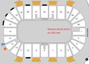 MOOSEHEADS - GREAT LOWER BOWL SEATS WHERE MOOSE SHOOT TWICE !!!