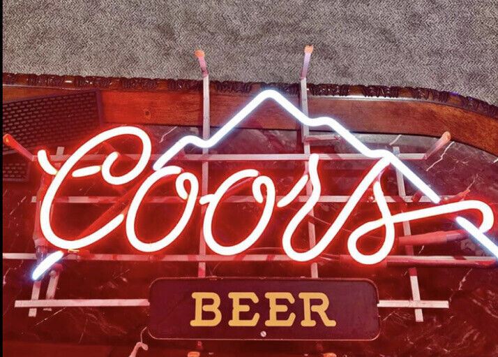 RARE Vintage 1980s Coors Beer Neon Light Sign w Lighted Mountains
