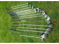 Full set Mizuno irons, Howson Woods, trolley bag etc