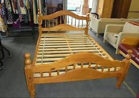 Double bed wooden frame new solid good quality wood pine oak beech metal single cheap mattress