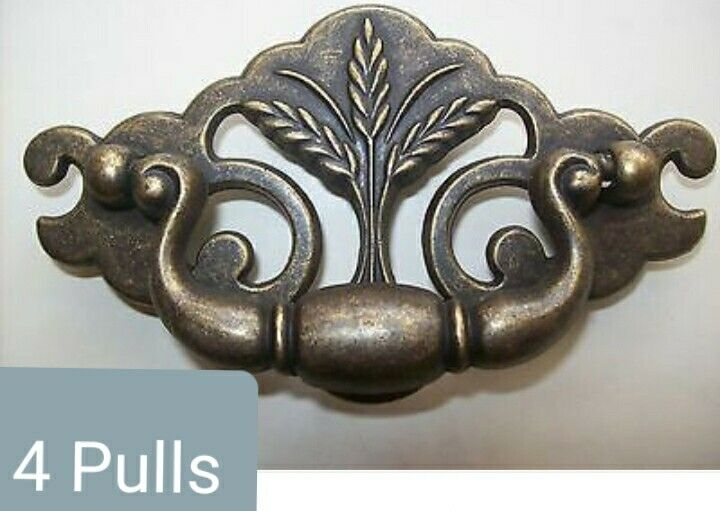 """Lot of 4 Vintage Bail Drawer Pulls By Keeler Brass Co USA 3"""" Centers Wheat NOS"""
