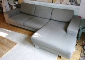 Lovely grey, comfortable feather and down sofa with chaise lounge in Riddlesdown