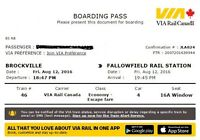 VIA RAIL TICKET FROM BROCKVILLE TO OTTAWA (Aug 12th-14th) $25