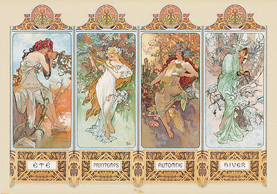 RIESEN Poster A. MUCHA - 4 Seasons - Girls No 1  ca140x100cm NEU XL837