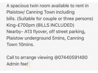 A spacious twin room to let in Plaistow ZONE3 including Bills