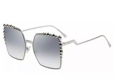 Fendi CAN EYE Sunglasses FF 0259/S 010 Silver Mirror Palladium White Gold Women
