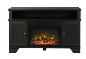 FOR SALE  -  MasterFlame electric fireplace in black tv stand