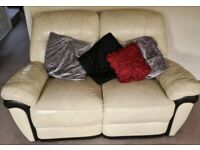 CREAM SOFT LEATHER 3 & 2 SOFA SET REAL COMFY DELIVERY FREE