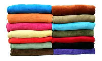 Coral Fleece Throw Blanket Soft Elegant 14 Solid Colors King Queen Full Size (Orange Throw Blanket)