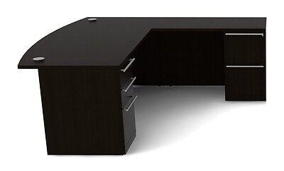 New Verde Modern Bowfront L-shape Executive Office Desk