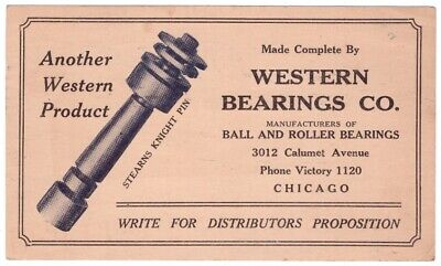 Western Bearings Co Chicago Stearns Knight Pin Post Card Postcard vintage 1928 F
