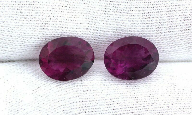 One 10x8 10mm x 8mm Natural Purple Red Oval Fluorite Gemstone Gem EBS8237PUR-R