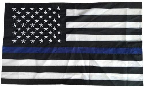 2x3 Thin Blue Line USA Flag American Police EMBROIDERED Nylon House Flag, SLEEVE