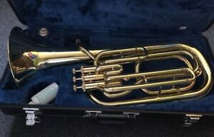 Baritone Horn with case and supplies