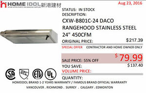 "HOME IDOL 24"" DACO KITCHEN RANGE HOOD CLEARANCE $79"