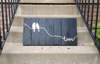 """Made from reclaimed wood, rustic signs - """"love birds"""""""