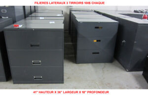 LOT CLASSEUR FILIERE 3 TIRROIRS LATERAL 3 DRAWERS FILING CABINET