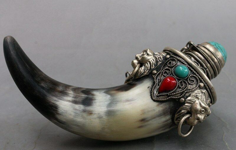 135 mm Chinese traditional handmade ox horn inlaid turquoise horns snuff bottle