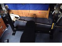 Powertec workout bench, weights and accessories
