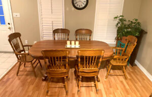 solid wood havest dining table set