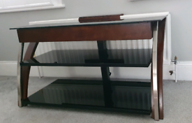 COSTCO WOOD AND GLASS TV STAND