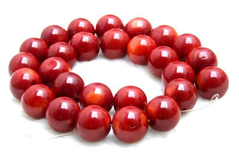 """14-15mm Round Natural Red Coral Loose Beads for Jewelry Making DIY Strands 15"""""""