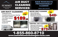 DUCT CLEANING $189.99! INCLUDES FURNACE CLEANING & SANITIZER!