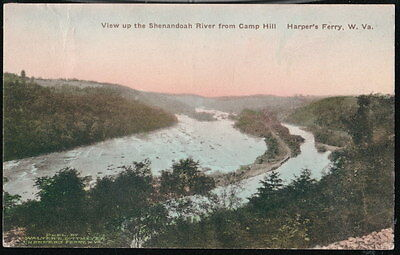 Harpers Ferry Wv Shenandoah River View From Camp Hill Vtg Hand Colored Postcard
