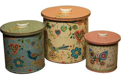 Set of 3 Beautiful Shabby Chic Colourful Butterfly Bird Metal Storage Tins
