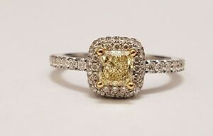 18K white gold fancy light yellow gold diamond engagement ring Oakville / Halton Region Toronto (GTA) image 1