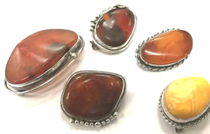 Baltic Amber with Silver Brooches,