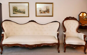 Nineteenth century rosewood Antique Sofa and Chair