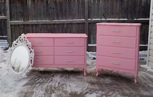GIRL'S FRENCH PROVINCIAL 3 PIECE DRESSER SET - COTTON CANDY PINK