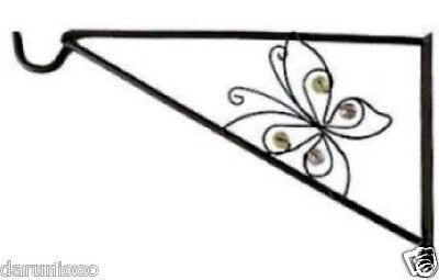 GARDEN HANGING BASKET METAL WALL BRACKET - BUTTERFLY - UP TO 16