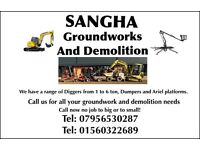 Ground works and Demolition. Digger excavator dumper cherry picker