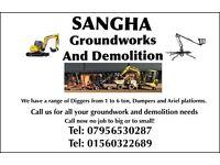 Ground works and Demolition. Digger excavator dumper cherry picker