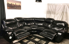 , Dfs new ex display black real leather electric recliners corner sofa
