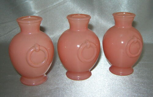Lot (3) Vintage Salmon Pink Milk Glass Miniature Art Deco Urn Vases w/ Rings