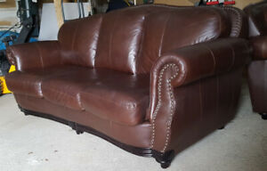 High End Classic Brown 100% Leather Sofa Set LIKE NEW
