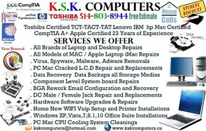 PC Mac Computer Services LCD Repair Virus Clean Data Recovery A+