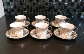Six piece espresso cup and saucer set